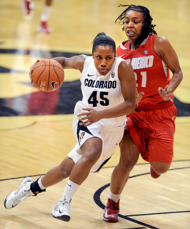 . Ky Weston of CU drives past Jayme Jackson of New Mexico on Saturday. Cliff Grassmick / December 29, 2012