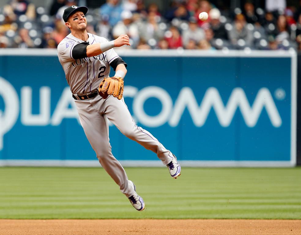 . Colorado Rockies shortstop Troy Tulowitzki throws out San Diego Padres\' Everth Cabrera  during an MLB baseball game Sunday  April 14, 2013, in San Diego. (AP Photo/Alex Gallardo)