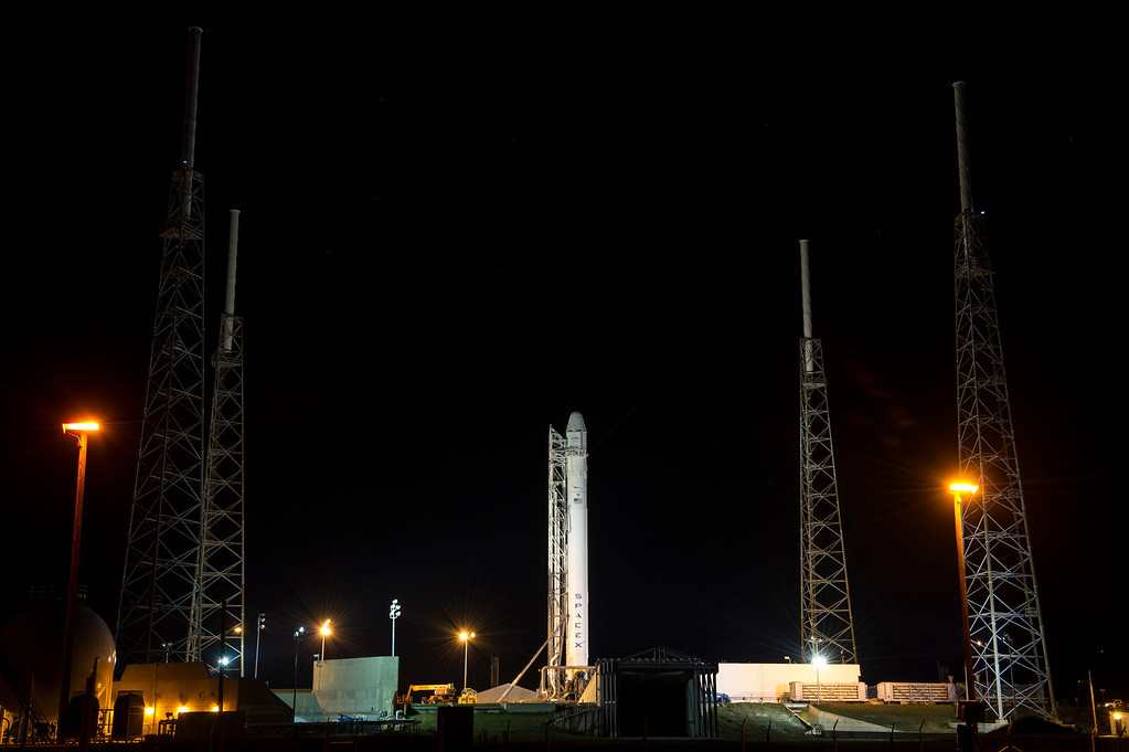 . In this handout provided by the National Aeronautics and Space Administration (NASA), the SpaceX Falcon 9 rocket carrying the Dragon spacecraft onboard, sits on the launchpad at Launch Complex 40 at the Cape Canaveral Air Force Station on March 1, 2013 in Florida . Launch of the second SpaceX Commercial Resupply Services mission is scheduled for later this morning. (Photo by Bill Ingalls/NASA via Getty Images)