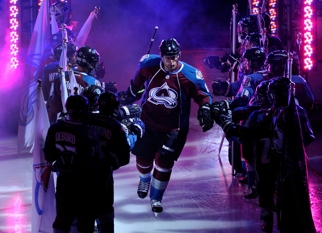 . DENVER, CO. - OCTOBER 02: Avalanche defenseman Jan Hejda (8) was introduced for the game. The Colorado Avalanche hosted the Anaheim Ducks at the Pepsi Center Wednesday night, October 2, 2013. Photo By Karl Gehring/The Denver Post