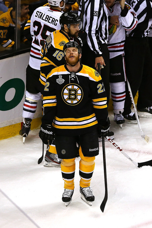 . Shawn Thornton #22 of the Boston Bruins reacts after a play against the Chicago Blackhawks in Game Three of the 2013 NHL Stanley Cup Final at TD Garden on June 17, 2013 in Boston, Massachusetts.  (Photo by Elsa/Getty Images)
