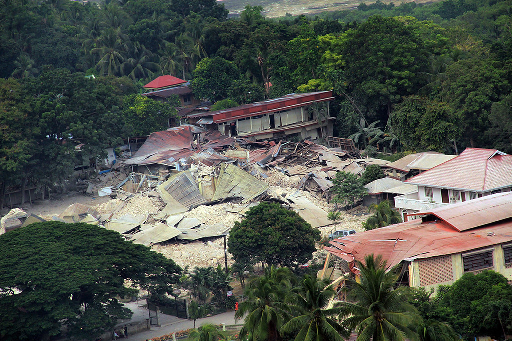 . In this photo released by the Philippine Air Force shows damaged structures and part of the Our Lady of Light Catholic church after a powerful earthquake struck Loon town, Bohol province, central Philippines Wednesday Oct. 16, 2013.  (AP Photo/ Philippine Air Force)