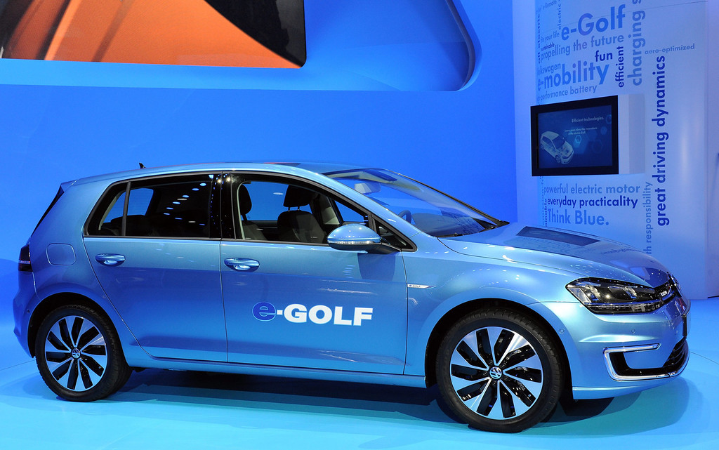 . Volkswagen e-Golf all electric vehicle at the 2013 LA Auto Show in Los Angeles, California, USA, 20 November 2013. The vehicle can travel up to 90 miles between charges and has a top speed of 87 MPH.  EPA/BOB RIHA JR