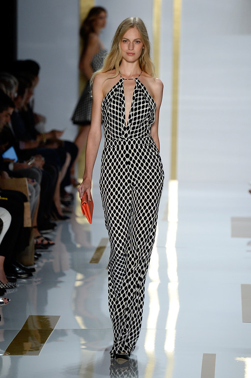 . A model walks the runway at the Diane Von Furstenberg fashion show during Mercedes-Benz Fashion Week Spring 2014 at The Theatre at Lincoln Center on September 8, 2013 in New York City.  (Photo by Frazer Harrison/Getty Images for Mercedes-Benz Fashion Week Spring 2014)