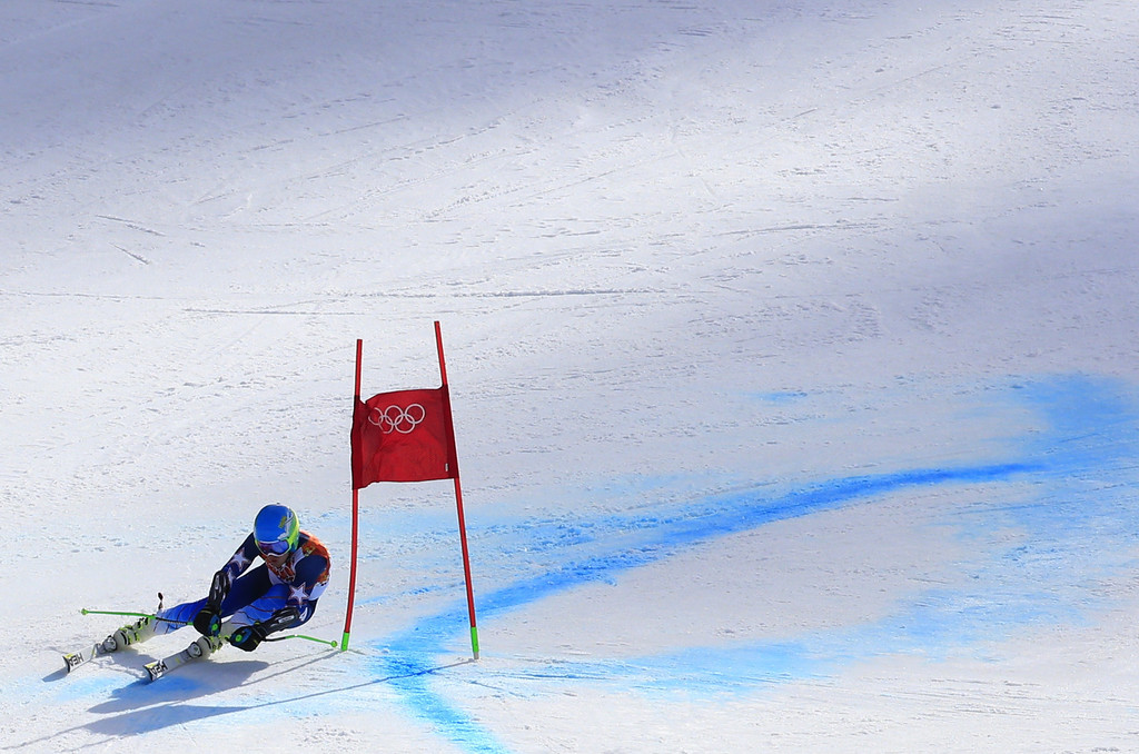 . US skier Ted Ligety competes during the Men\'s Alpine Skiing Giant Slalom Run 2 at the Rosa Khutor Alpine Center during the Sochi Winter Olympics on February 19, 2014.  AFP PHOTO / ALEXANDER  KLEIN/AFP/Getty Images