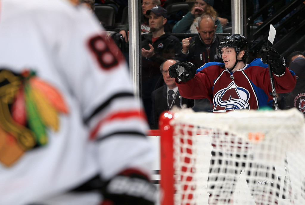 . DENVER, CO - MARCH 08:  Matt Duchene #9 of the Colorado Avalanche celebrates his second period goal to give the Avalanche a 2-1 lead over the Chicago Blackhawks at the Pepsi Center on March 8, 2013 in Denver, Colorado.  (Photo by Doug Pensinger/Getty Images)
