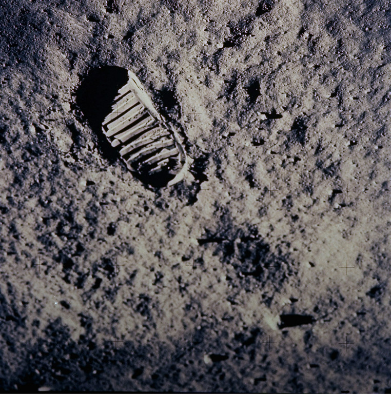 ". FILE - In this July 20, 1969 file photo provided by NASA, a footprint left by one of  the astronauts of the Apollo 11 mission shows in the soft, powder surface of the moon. Commander Neil Armstrong and Edwin ""Buzz\"" Aldrin became the first men to walk on the moon after blastoff from Cape Kennedy, Fla., on July 16, 1969. (AP Photo/NASA, File)"