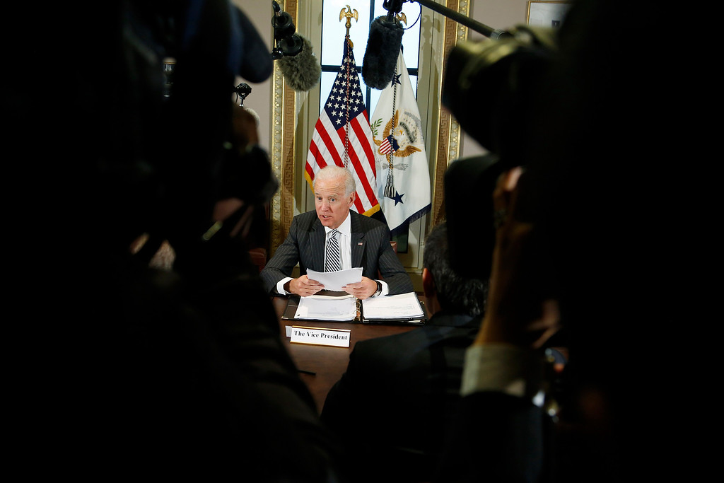. U.S. Vice President Joe Biden makes remarks to reporters before he meets with representatives from the video game industry, in a dialogue about gun violence, in his office in Washington, January 11, 2013. REUTERS/Jonathan Ernst