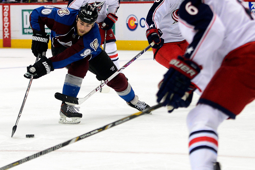 . Ryan O\'Reilly (90) of the Colorado Avalanche works for a shot against the Columbus Blue Jackets during the third period of Colorado\'s 5-3 win.   (Photo by AAron Ontiveroz/The Denver Post)