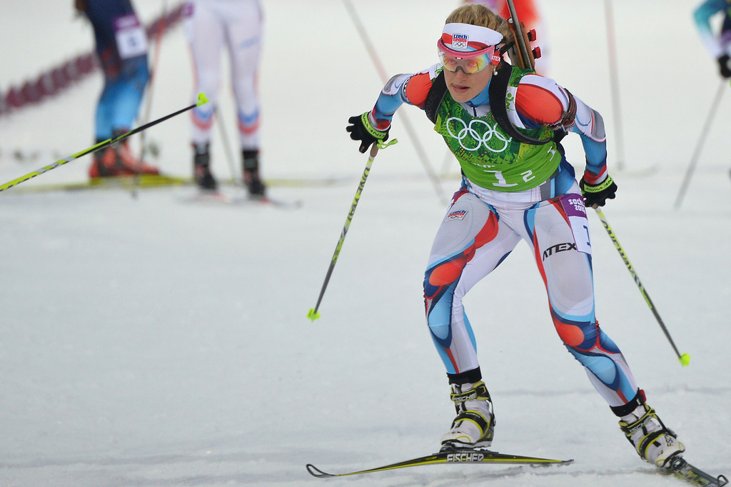 . Czech Republic\'s Gabriela Soukalova competes in the Biathlon mixed 2x6 km + 2x7,5 km Relay at the Laura Cross-Country Ski and Biathlon Center during the Sochi Winter Olympics on February 19, 2014 in Rosa Khutor near Sochi.   AFP PHOTO / ALBERTO  PIZZOLI/AFP/Getty Images