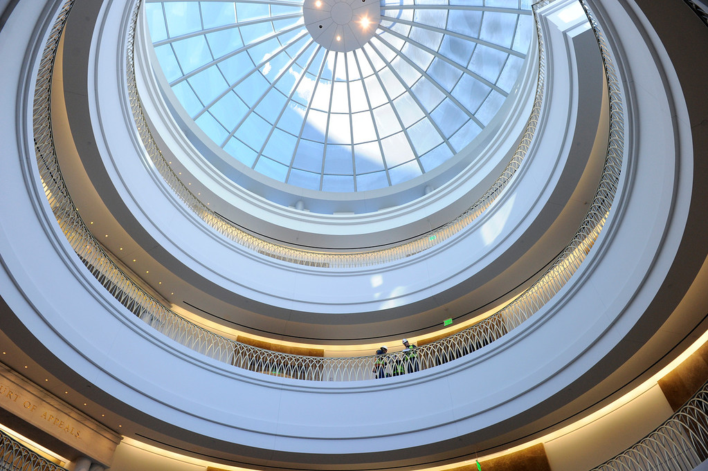. Looking straight up from the atrium to the dome just inside the front doors of the courthouse. Construction crews put the finishing touches on the new Ralph L. Carr Colorado Judicial Center at 2 East 14th Avenue in Denver on Tuesday, Dec. 11, 2012. The courts will officially open at this location at 8 a.m. on Wed. Dec. 19, 2012. Kathryn Scott Osler, The Denver Post