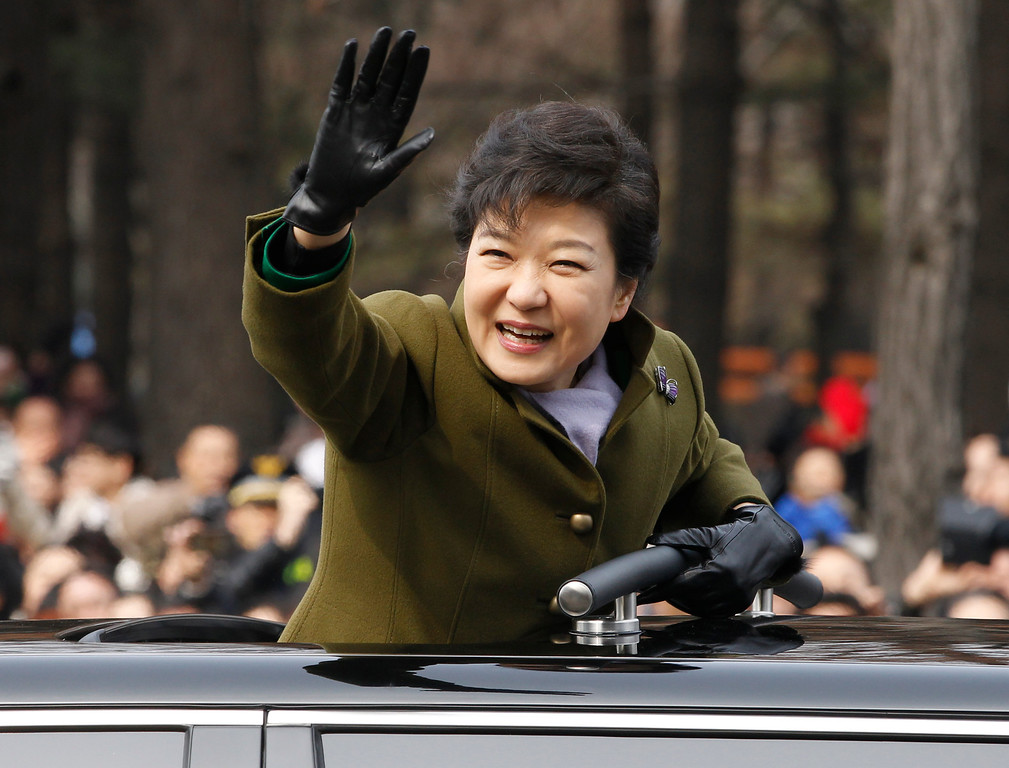. South Korea\'s new President Park Geun-hye leaves after her inauguration at parliament in Seoul, South Korea, Monday, Feb. 25, 2013. (AP Photo/Kim Hong-Ji, Pool)