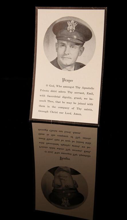 . A prayer card is on display at Kapaun Mount Carmel High School in Wichita, Kansas.  (Bo Rader/Wichita Eagle/MCT)