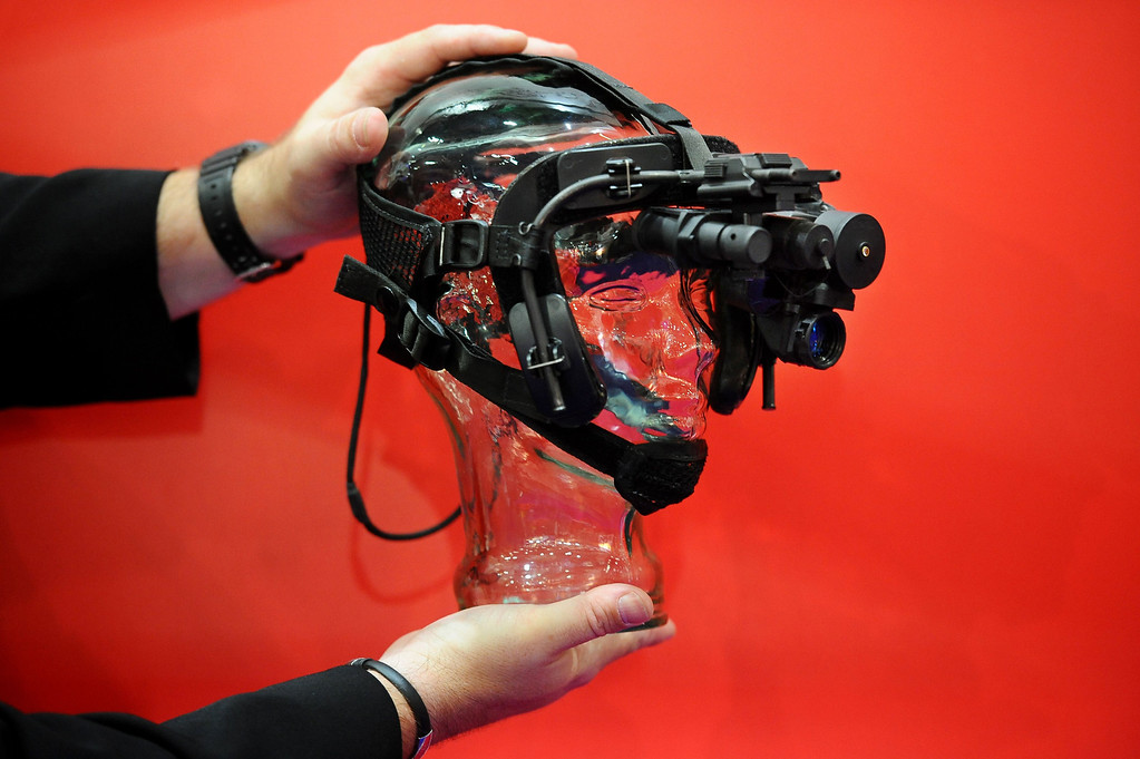 . Nightvision eyewear is displayed at the Defence and Security Equipment International (DSEI) arms fair at the ExCeL centre in east London, on September 10, 2013.   AFP PHOTO / BEN  STANSALL/AFP/Getty Images