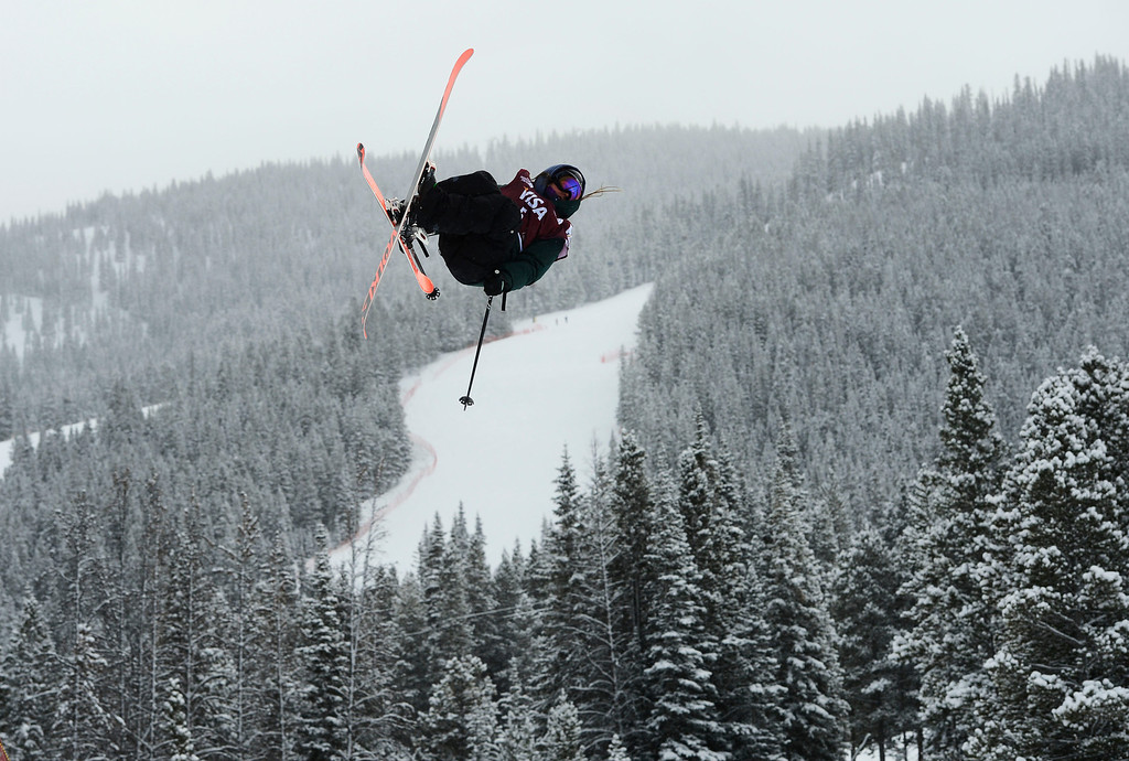 . Darian Stevens, USA, gets airborne during her first run at the U.S. Grand Prix slope style finals at the Copper Mountain ski area Saturday afternoon, December 21, 2013. Stevens placed second. (Photo By Andy Cross / The Denver Post)