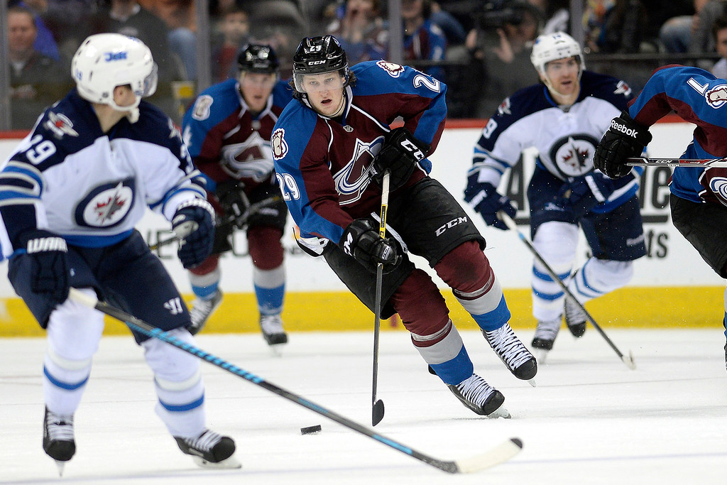 . Nathan MacKinnon (29) of the Colorado Avalanche brings the puck up the ice against the Winnipeg Jets during the Avs\' 3-2 win. (Photo by AAron Ontiveroz/The Denver Post)