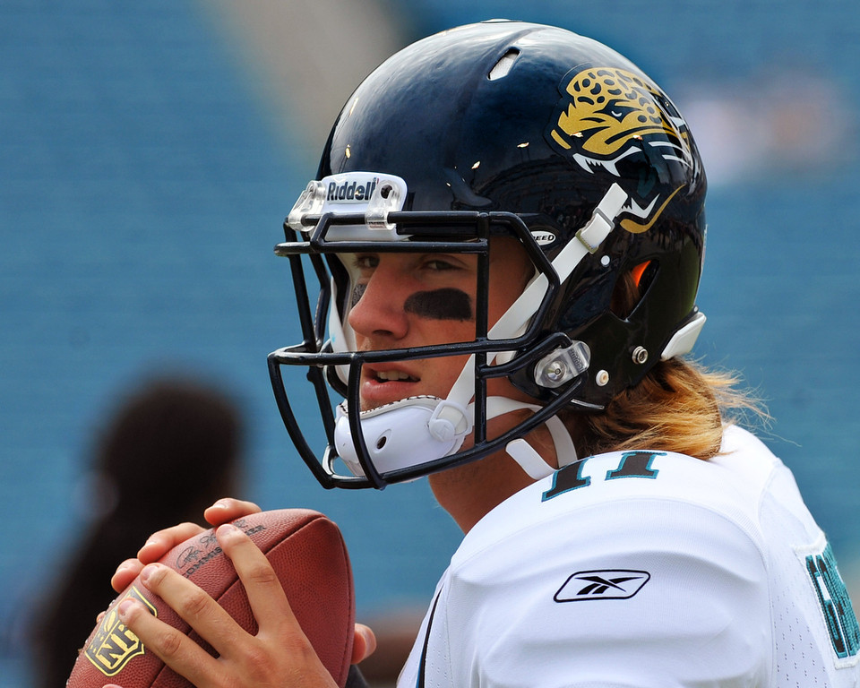 . Blaine Gabbert, Missouri Selected 10th overall by the Jaguars in 2011 In his two seasons with the Jaguars, Gabbert is 5-19 in 24 starts. His numbers improved across the board his second season � Gabbert threw nine touchdowns, six interceptions and had a 77.4 passer rating in 10 games � but he doesn�t have much job security as Jacksonville�s starter. GRADE: D. The Jaguars aren�t sold on him, and with good reason.(Photo by Al Messerschmidt/Getty Images)