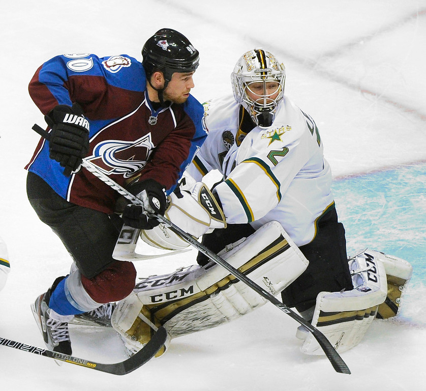 . DENVER, CO. - MARCH 12: Ryan O\'Reilly (90) of the Colorado Avalanche skated past goalie Kari Lehtonen (32) of the Dallas Stars in the second period. The Colorado Avalanche hosted the Dallas Stars Wednesday night, March 19, 2013 at the Pepsi Center in Denver. (Photo By Karl Gehring/The Denver Post)