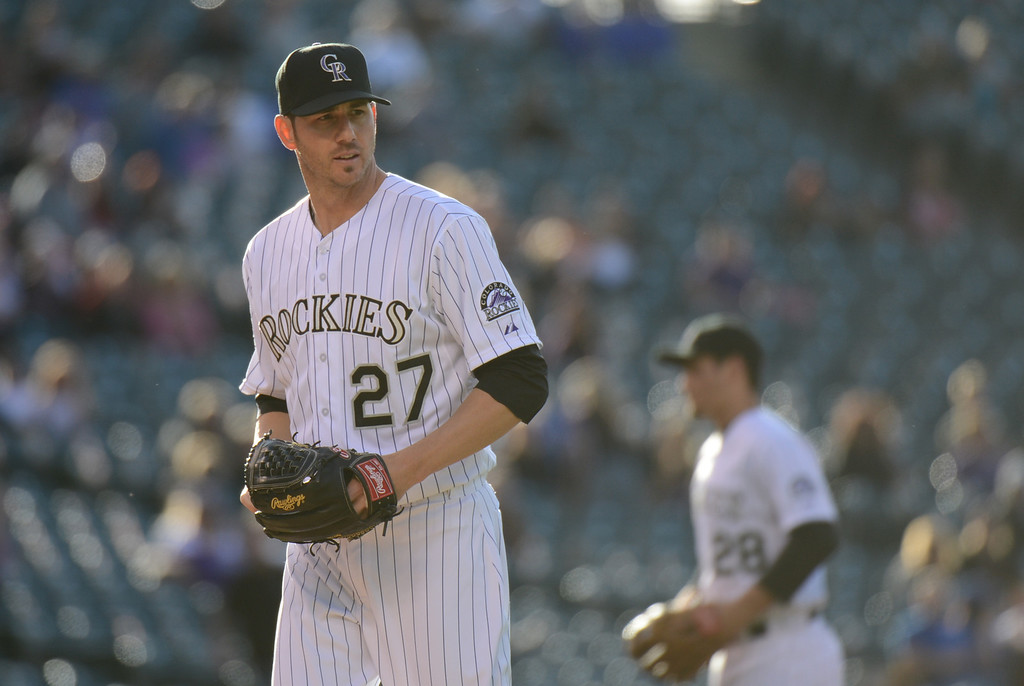 . DENVER, CO. - MAY 31: Pitcher Jon Garland of Colorado Rockies (27) is in the game against Los Angeles Dodgers at Coors Field. Denver, Colorado. May 31, 2013. (Photo By Hyoung Chang/The Denver Post)