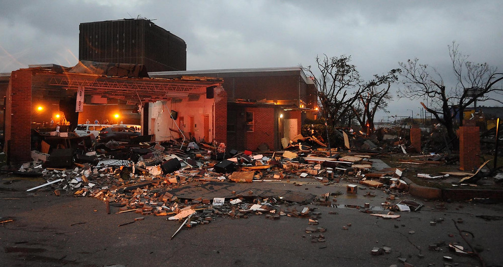. Extensive damage at the University of Southern Mississippi on Hardy Street in Hattiesburg Miss., Feb 10, 2013 after a tornado passed through the city Sunday afternoon. (AP Photo/Hattiesburg American, Ryan Moore)