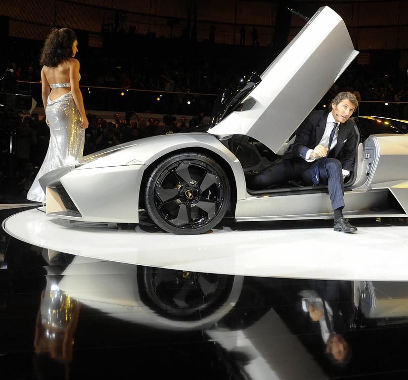 . Stephan Winkelmann,CEO of Lamborghini presents the Lamborghini Reventon ahead of the 63rd International Motor Show (IAA) in the central German city of Frankfurt am Main on September 14, 2009.  THOMAS LOHNES/AFP/Getty Images