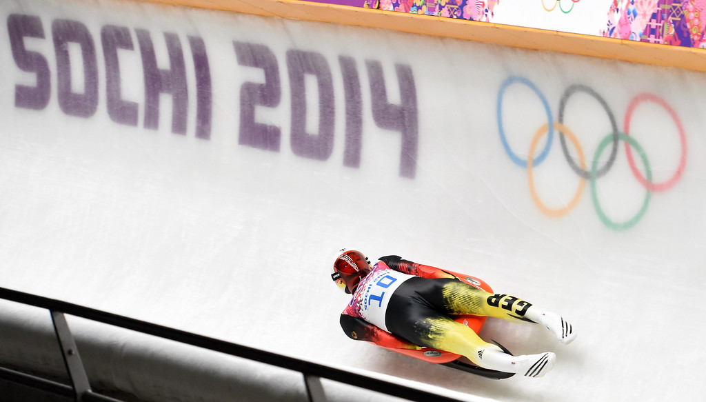 . Germany\'s Felix Loch competes in the Men\'s Luge final at the Sanki Sliding Center during the Sochi Winter Olympics on February 9, 2014. Loch won the Gold Medal.                         LEON NEAL/AFP/Getty Images