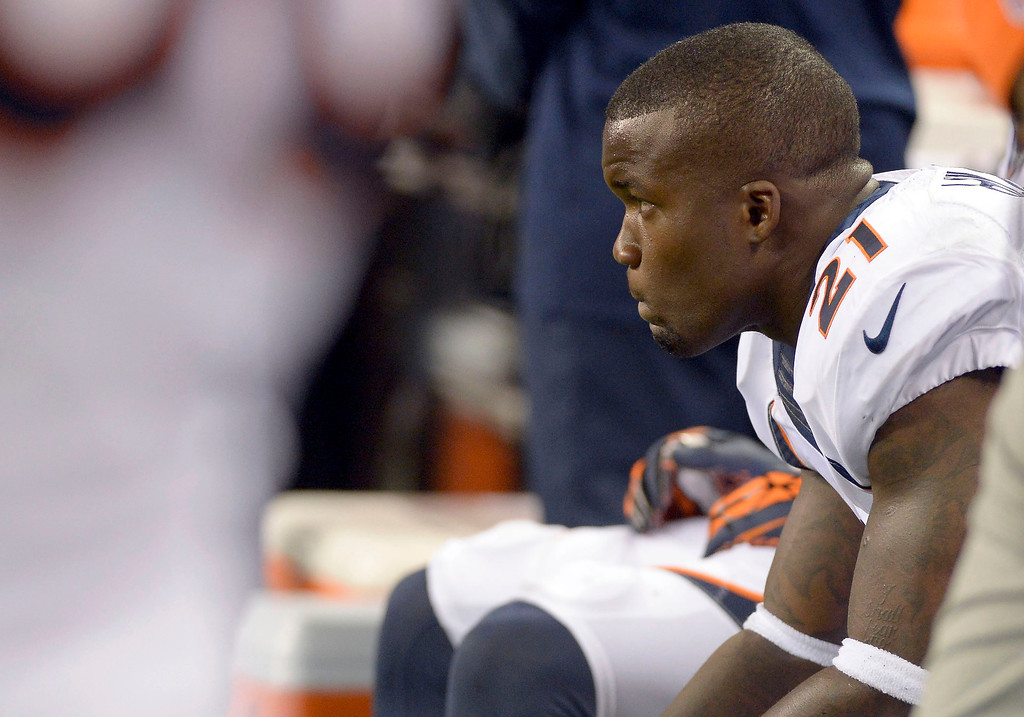 . Denver Broncos running back Ronnie Hillman (21) sits on the bench dejected after fumbling the ball at the goal line late in the fourth quarter against the Indianapolis Colts October 20, 2013 at Lucas Oil Field. (Photo by John Leyba/The Denver Post)