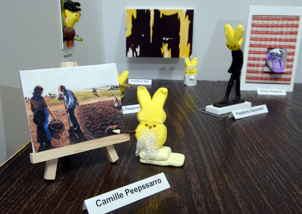 ". 1st place adult winner: Members of the Denver Art Museum\'s conservation department teamed up to create ""Modern Peepsters\"" Peeps diorama. It is a play on the current Modern Masters exhibit at the museum  on Wednesday, April 9, 2014. Detail of \""Camille Peepssaro.\"" (Denver Post Photo by Cyrus McCrimmon)"