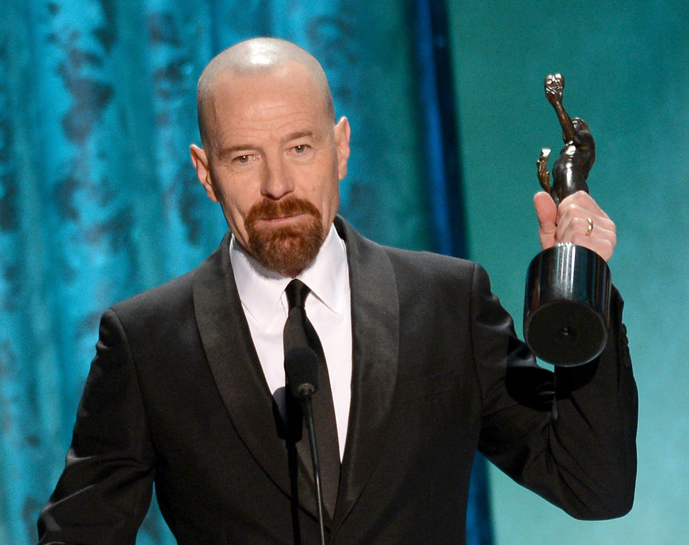 . Actor Bryan Cranston accepts the award for Outstanding Performance by a Male Actor in a Drama Series for \'Breaking Bad\' onstage during the 19th Annual Screen Actors Guild Awards held at The Shrine Auditorium on January 27, 2013 in Los Angeles, California.  (Photo by Mark Davis/Getty Images)