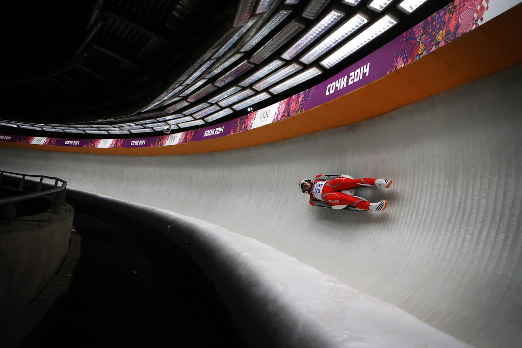 . Ewa Kuls of Poland in action during the Women\'s Singles Luge first run at the Sanki Sliding Center at the Sochi 2014 Olympic Games, Krasnaya Polyana, Russia, 10 February 2014.  EPA/FREDRIK VON ERICHSEN