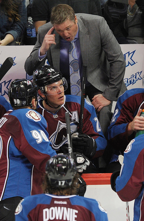 . Colorado coach Patrick Roy had sharp words for the team in the second period after the Avs were whistled for several penalties.  Photo By Karl Gehring/The Denver Post