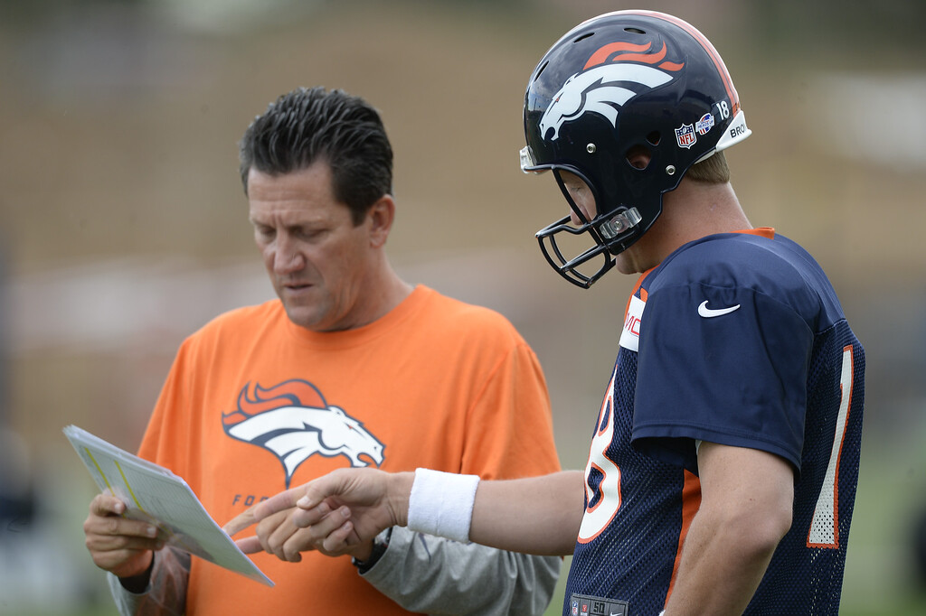 . Denver Broncos quarterback coach Greg Knapp talks with Denver Broncos quarterback Peyton Manning (18) before the start of day 12 of the Denver Broncos 2014 training camp August 5, 2014 at Dove Valley. (Photo by John Leyba/The Denver Post)
