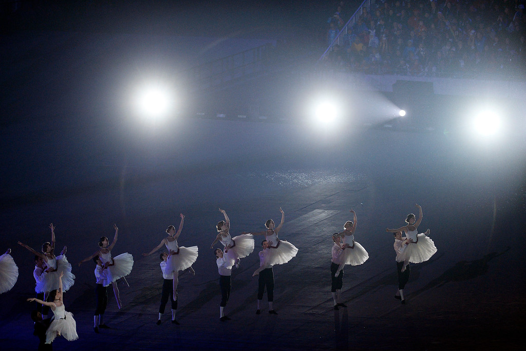 . Dancers pay homage to Russia\'s rich history of ballet during closing ceremony for the Sochi 2014 Winter Olympics. Sochi 2014 Winter Olympics on Sunday, February 23, 2014 at Fisht Olympic Stadium. (Photo by AAron Ontiveroz/ The Denver Post)
