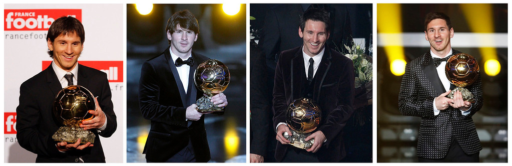 . (L-R) A combination photograph shows Lionel Messi holding the 2009, 2010, 2011 and 2012 FIFA Ballon d\'Or trophies. Messi, still only 25, was named the world\'s best player for the fourth time in a row on January 7, 2013 after a year in which finally produced his best form for Argentina as well as Barcelona. REUTERS/Staff/Files