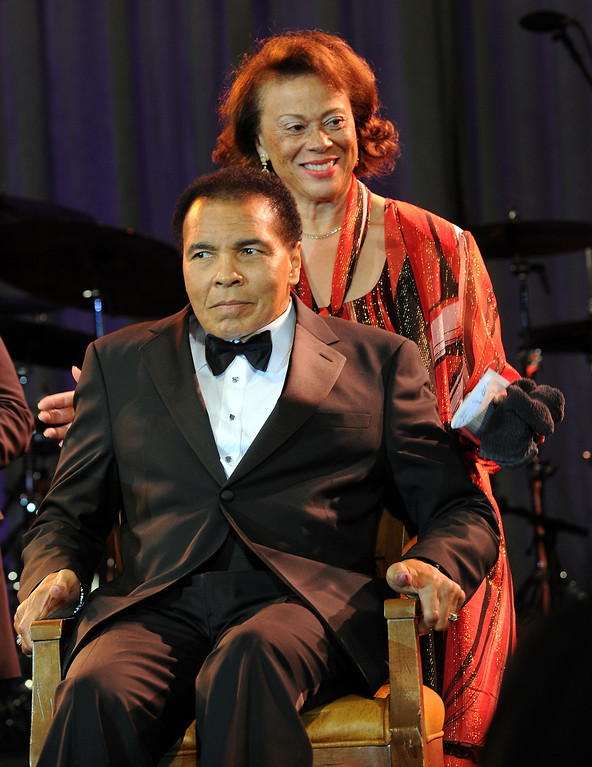 . Muhammad Ali and wife Lonnie Ali attend Celebrity Fight Night XVI on March 20, 2010 at the JW Marriott Desert Ridge in Phoenix, Arizona.  (Photo by Michael Buckner/Getty Images for Celebrity Fight Night)
