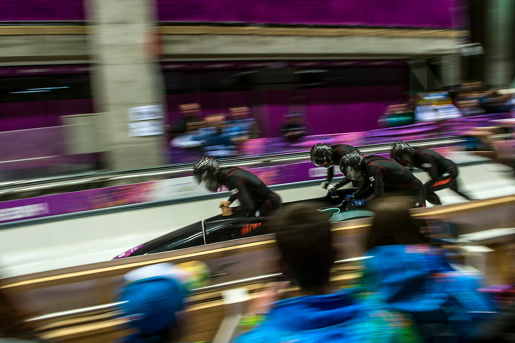 . Team Japan competes in the four-man bobsled at Sanki Sliding Center during the 2014 Sochi Olympics Saturday February 22, 2014. They are currently in 26th place with a time of 56.41.