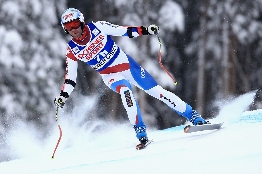 . Patrick Kueng of Switzerland skis to first place in the men\'s Super G at the Birds of Prey Audi FIS Ski World Cup at Beaver Creek on December 7, 2013 in Beaver Creek, Colorado.  (Photo by Doug Pensinger/Getty Images)
