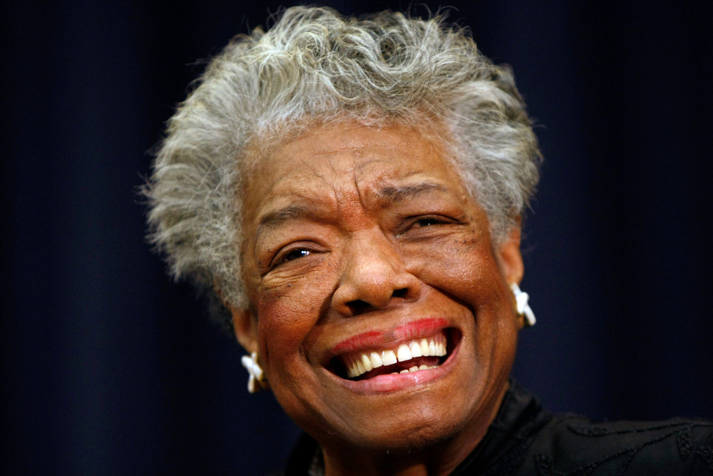 """. In this Nov. 21, 2008 file photo, poet Maya Angelou smiles at an event in Washington. Angelou, author of \""""I Know Why the Caged Bird Sings,\"""" has died, Wake Forest University said Wednesday, May 28, 2014.  She was 86.  (AP Photo/Gerald Herbert, File)"""
