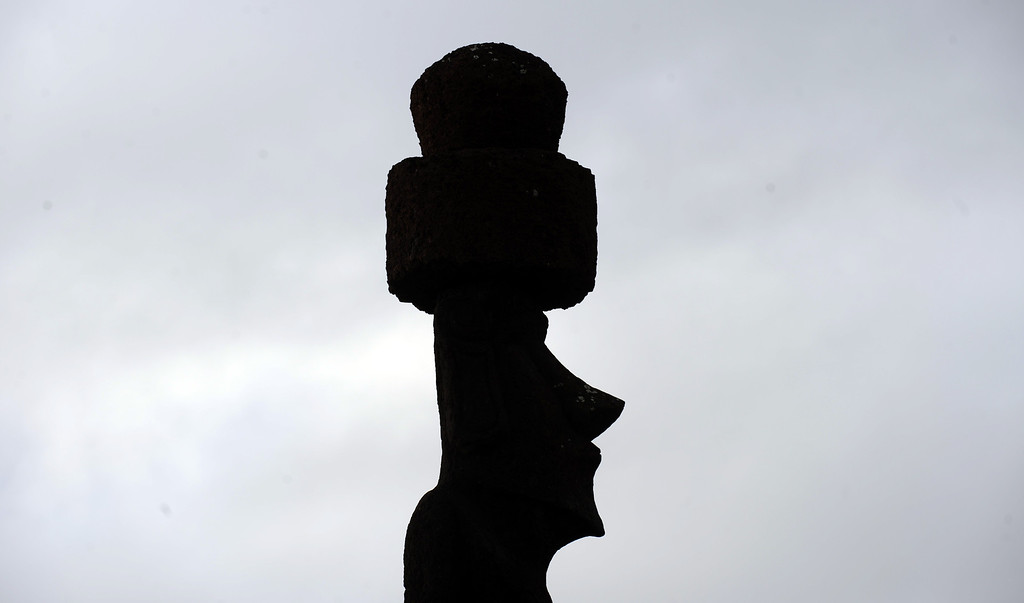 . View of a Moais -- stone statues of the Rapa Nui culture -- on Easter Island, 3700 km off the Chilean coast in the Pacific Ocean, on July 9, 2010.   MARTIN BERNETTI/AFP/Getty Images