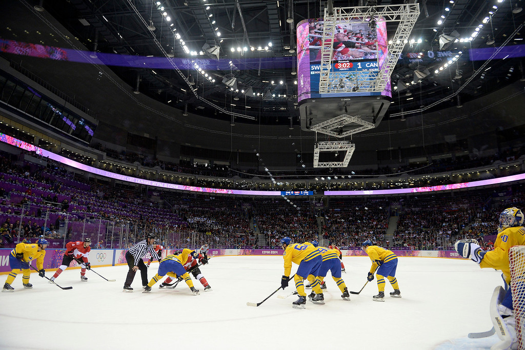 . Team Canada and team Sweden face off during the first period of the men\'s ice hockey gold medal game. Sochi 2014 Winter Olympics on Sunday, February 23, 2014 at Bolshoy Ice Arena. (Photo by AAron Ontiveroz/ The Denver Post)