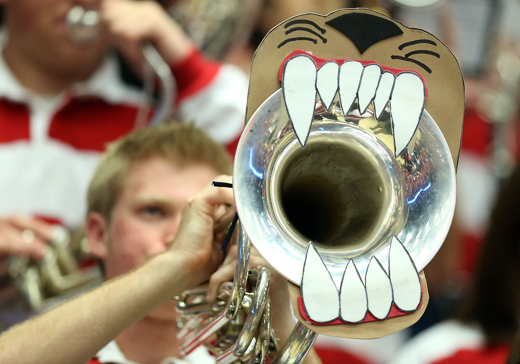 . A Arizona Wildcats band member performs during the college basketball game against the Colorado Buffaloes at McKale Center on January 23, 2014 in Tucson, Arizona. The Wildcats defeated the Buffaloes 69-57.  (Photo by Christian Petersen/Getty Images)