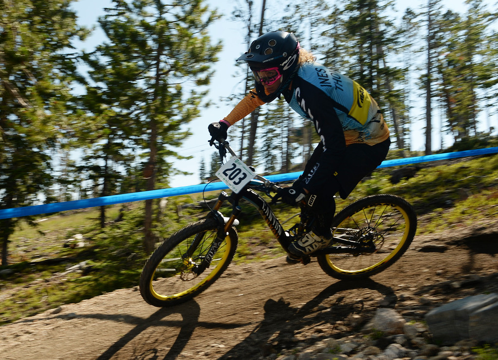 . WINTER PARK, CO. - July 26: Ines Thoma controls the bike during the first stage of First international Enduro World Cup Championship ever in U.S. at Winter Park, Colorado. July 26, 2013. (Photo By Hyoung Chang/The Denver Post)