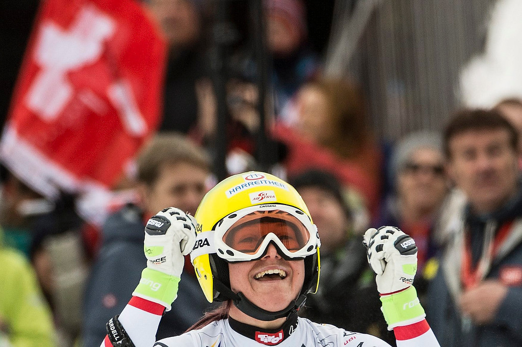 . Andrea Fischbacher of Austria celebrates winning the Women\'s Downhill race of the FIS Alpine Skiing World Cup  in Crans-Montana, Switzerland.  EPA/ALESSANDRO DELLA VALLE