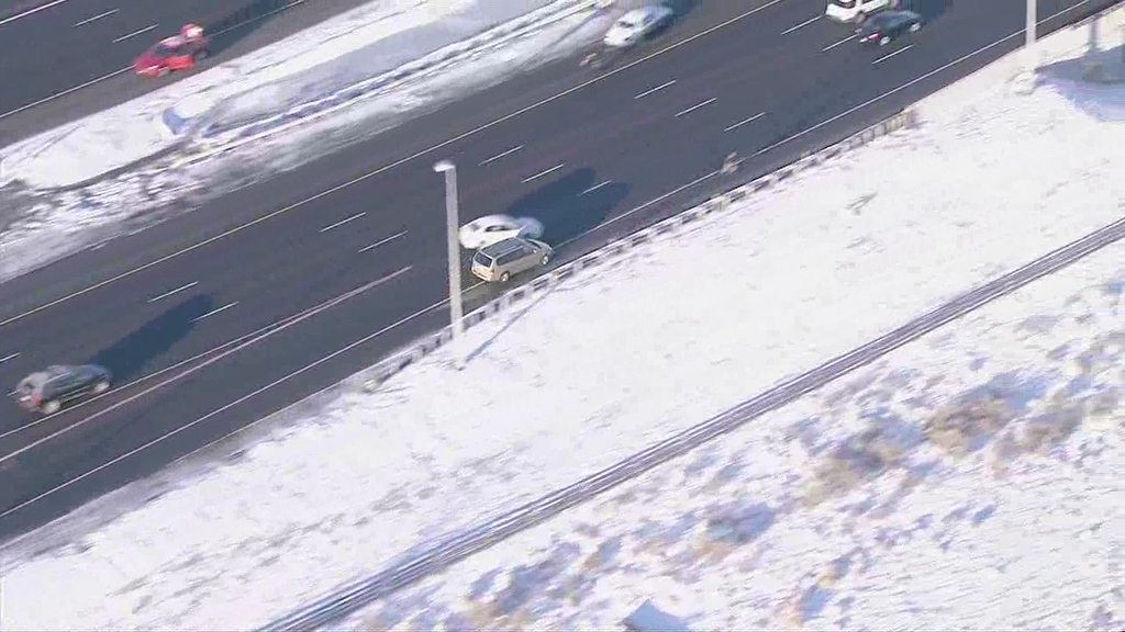 . A Colorado state trooper who was deploying stop sticks in the southbound lanes of E-470 near Chambers Road was struck by the suspect\'s vehicle. The trooper was taken to Littleton Hospital with serious injuries. Courtesy 7News/TheDenverChannel.com