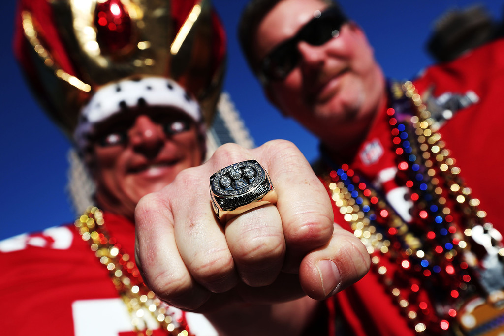. (L-R) Shane Knight and Jimmy Bowers, fans of the San Francisco 49ers, show support for their team outside the stadium prior to Super Bowl XLVII against the Baltimore Ravens at the Mercedes-Benz Superdome on February 3, 2013 in New Orleans, Louisiana.  (Photo by Win McNamee/Getty Images)