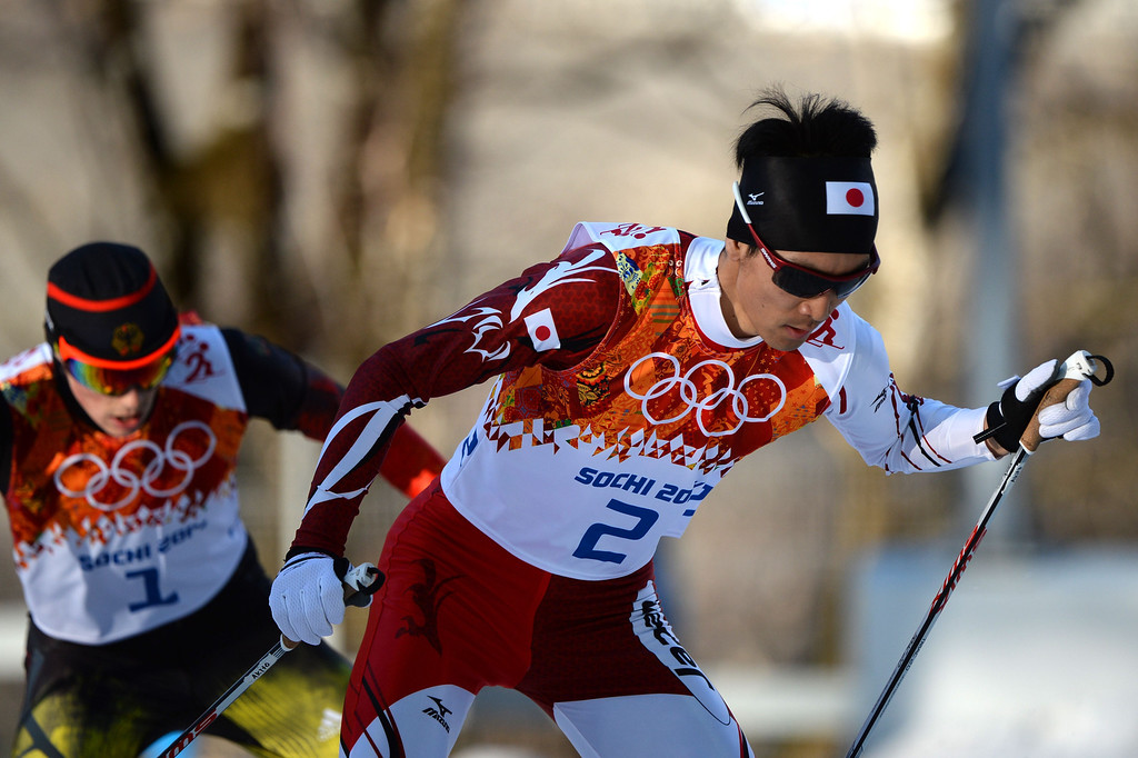 . Silver medalist Japan\'s Akito Watabe (2) and gold winner Germany\'s Eric Frenzel (1) compete in the Nordic Combined Individual NH / 10 km Cross-Country at the RusSki Gorki Jumping Center during the Sochi Winter Olympics on February 12, 2014, in Rosa Khutor near Sochi.  AFP PHOTO / PETER PARKS/AFP/Getty Images