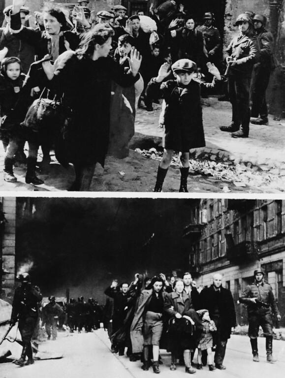 . These two pictures were among several introduced at the War Crimes Trials in Nuremberg showing destruction in Warsaw in the spring of 1943. The pictures were in a report of an SS commander charged with the destruction of Warsaw\'s ghetto and ridding the city of Jews. The people in this photo are unidentified. (AP Photo)
