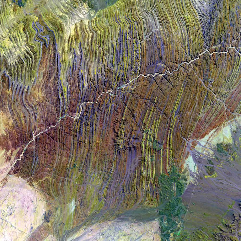 . Ugab River, Namibia Elusive and ecologically vital, Namibia�s Ugab River only flows above ground for a few days each year. The subterranean waters underlying this ephemeral river, however, are shallow enough in places to fill hollows and sustain a wildlife population that includes black rhinos and rare desert elephants. In this 2002 Landsat 7 image, the river passes through nearly vertical layers of thinly bedded limestone, sandstone, and siltstone. One of Namibia�s major rivers, the Ugab stretches nearly 500 kilometers from the interior to the coast of the Atlantic.   NASA