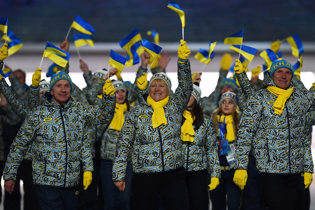 . The Ukraine Olympic team enter the stadium during the Opening Ceremony of the Sochi 2014 Winter Olympics at Fisht Olympic Stadium on February 7, 2014 in Sochi, Russia.  (Photo by Pascal Le Segretain/Getty Images)