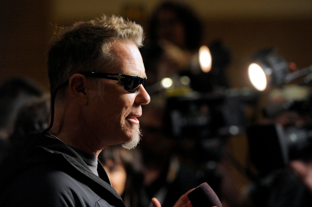 ". James Hetfield, of musical group Metallica, speaks to media at the ""Metallica Through the Never\"" press line on Day 3 of Comic-Con International on Friday, July 19, 2103 in San Diego, Calif. (Photo by Chris Pizzello/Invision/AP)"